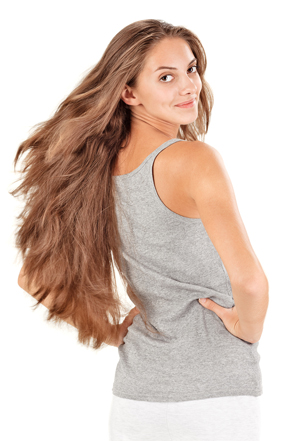Young beautiful woman with flying long hairs